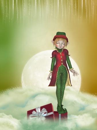 duendes de navidad: Duende de la Navidad en el cielo con una caja de