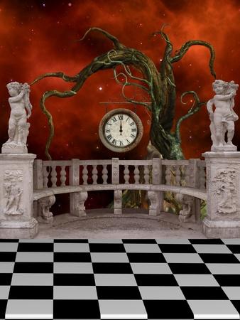 fantasia: Paisajes de Fantas�a con los �ngeles y el �rbol de balc�n