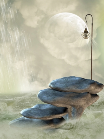 Fantasy Landscape with stone stairway in the ocean photo