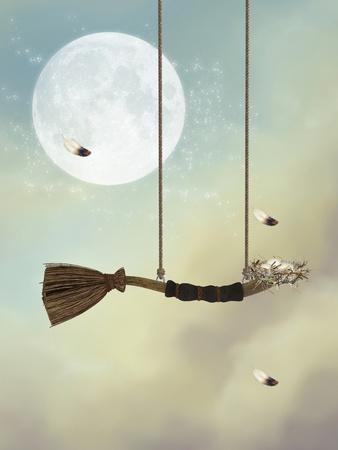 columpios: fantas�a oscilaci�n en el cielo con las plumas y nidos