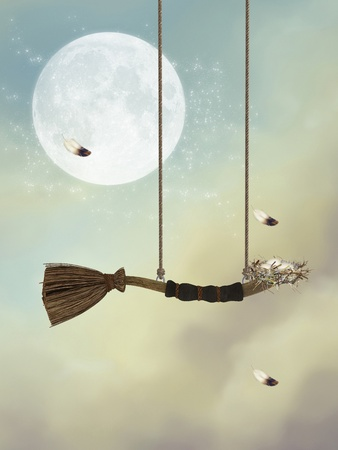 dreamy: fantasy swing in the sky with feathers and nest