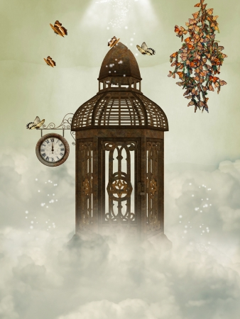 Cage and butterflies in the sky with clock photo