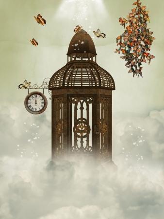 mariposas volando: Cage y mariposas en el cielo con el reloj Foto de archivo