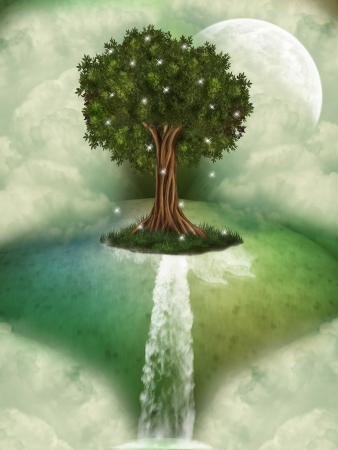 Tree in a fantasy landscape with dragonfly