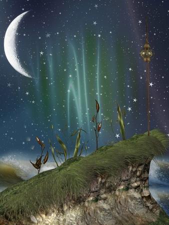 lampara magica: la fantas�a del paisaje con acantilados en el nigth