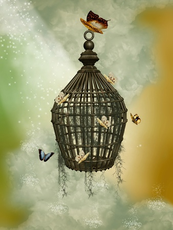 Fantasy cage with butterflies in the sky