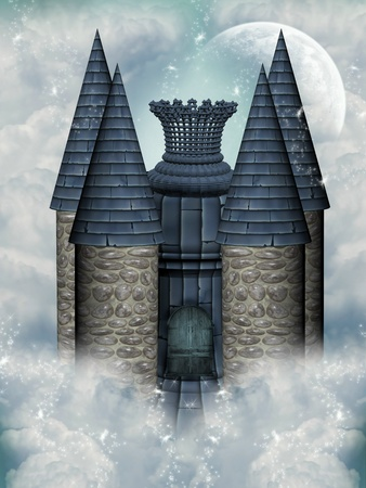 fairytale castle in the sky with moon photo