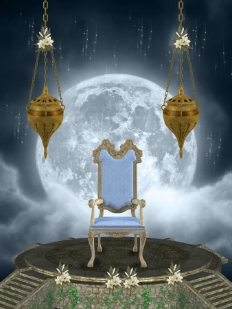throne in the sky with big moon photo