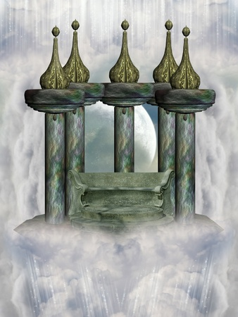 Temple in the sky with  throne and column photo
