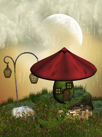 mushroom house: Fairy house in the garden with mushroom