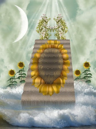 scenario: sunflower stairway with waves moon and flowers Stock Photo
