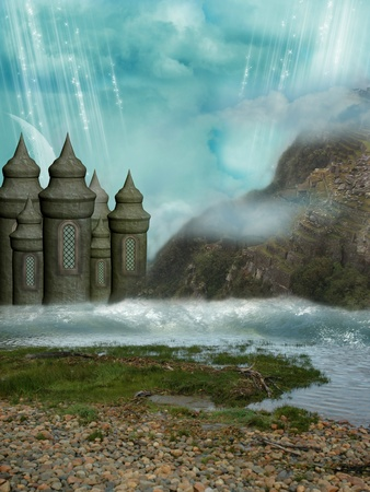 Fantasy Landscape with castle and rocky mountain photo