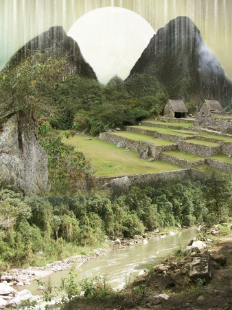 Primitive fantasy landscape with mountain houses and rock photo