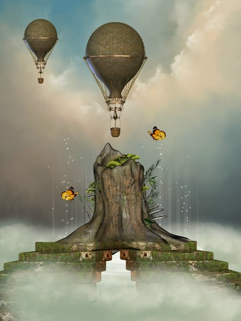 Fantasy landscape with trunk and air  balloon