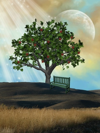 Fantasy Landscape with tree and wood armchair photo