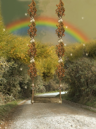hammock in the road with  butterflies and dragonflies Stock Photo - 11881691