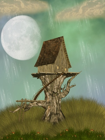 Tree House in a fantasy landscape with flowers photo