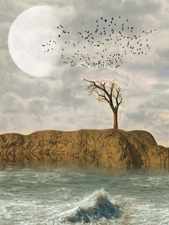 Fantasy Landscape in the ocean with tree