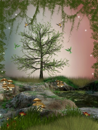 fairytale background: Fantasy Landscape with hummingbird mushroom and dragonfly