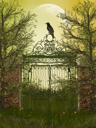 fantasy landscape with gateway and old raven photo
