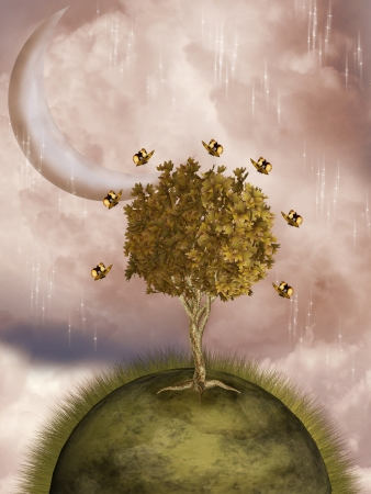 Fantasy Landscape with tree and yellow butterflies photo