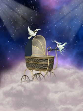 baby carriage in fantasy landscape with doves photo