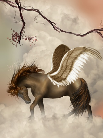 brown pegasus in the sky with branches