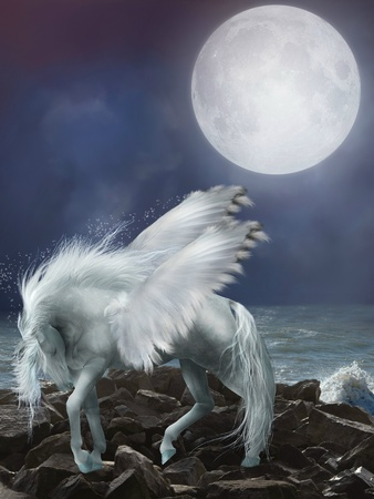 fantasy art: white pegasus in the stones with waves
