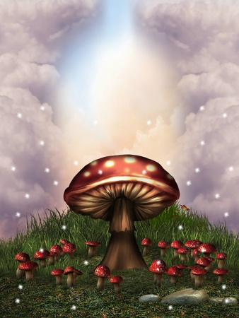 fantasy landscape with mushrooms and glow dragonfly  Stok Fotoğraf