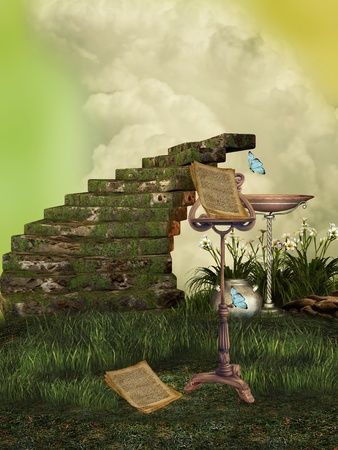 fantasy art: fantasy landscape with fairy music and stairway Stock Photo