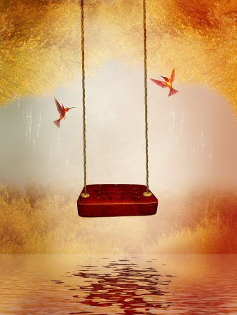red hammock and hummingbird in a peaceful lake Stock Photo - 13187386