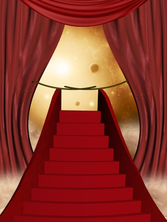 scenario: red curtain in the sky with carpet  stairway