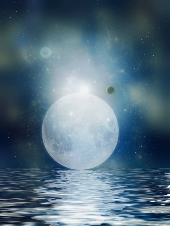 scenario: Moon reflection in the ocean in a peaceful night