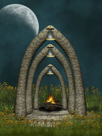 fairytale background: fantasy landscape with stone tample and bonfire