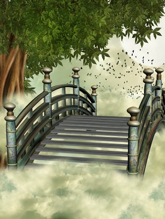 fantasy bridge in the sky with tree photo