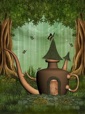 teapot fairy house in the forest with butterfly photo