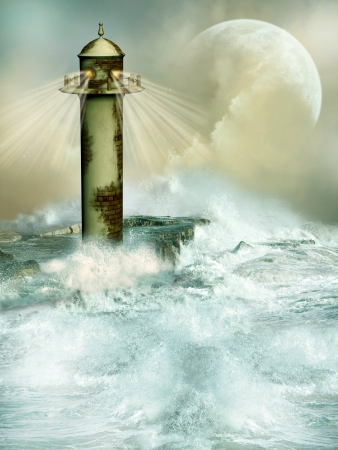 old lighthouse in desolate landscape with big waves photo
