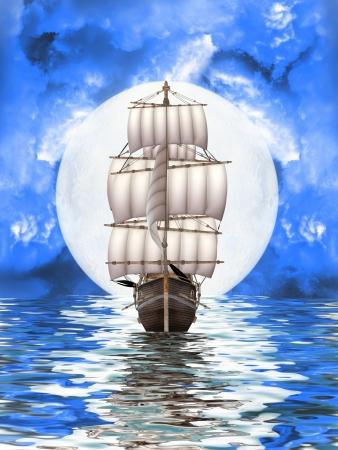 abbandonato la nave vecchio pirata in un paesaggio di fantasia