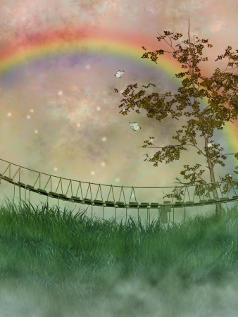 rainbow scene: old bridge in a fantasy landscape with tree and rainbow