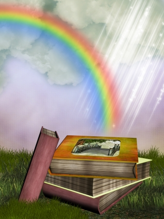 fairytale background: fantasy fairytale story books in thegarden with rainbow