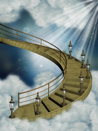 stairway to heaven: Stairway in the sky with old lamps Stock Photo
