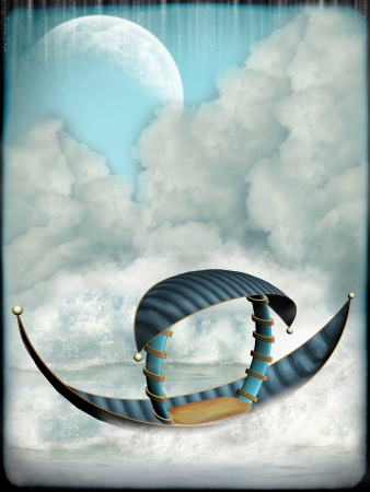 fairytale background: Fantasy Landscape with boat and big moon Stock Photo