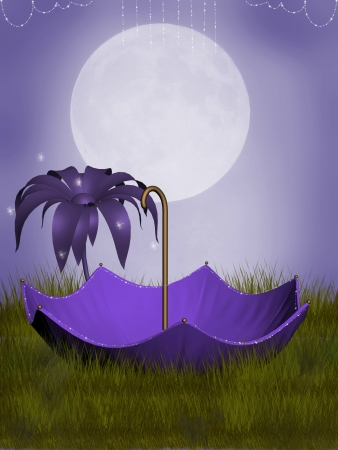 fantasy umbrella in the garden with big moon photo