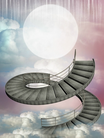 scenario: Fantasy stairway in the sky with big moon Stock Photo