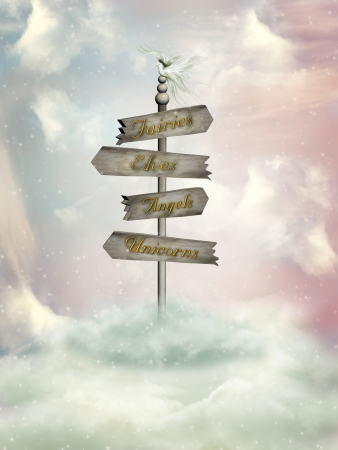 fantasy wood signage in the heaven with dove Stock Photo