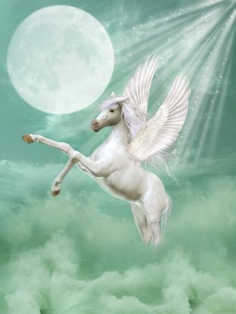 pegasus: Pegaso en el paisaje de la fantasía con las olas y la luna