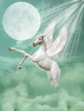 pegasus: pegasus in fantasy landscape with waves and moon Stock Photo