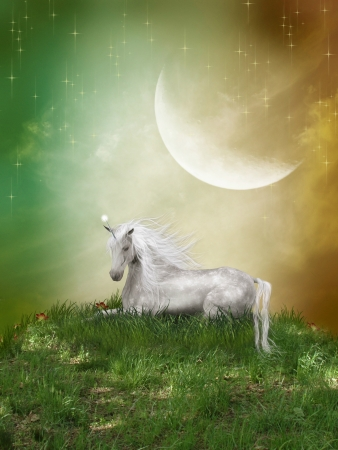 fairytale background: Fantasy landscape with unicorn and a big moon