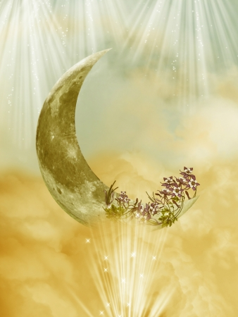 gold fantasy moon in a cloudy sky photo