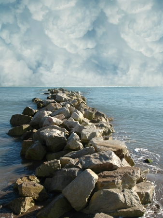 manipulation: Fantasy landscape in the sea with bigs rocks